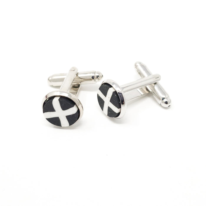 St Pirans Cornish Flag Silver Or Antique Bronze Coloured Cufflinks With Gift Box