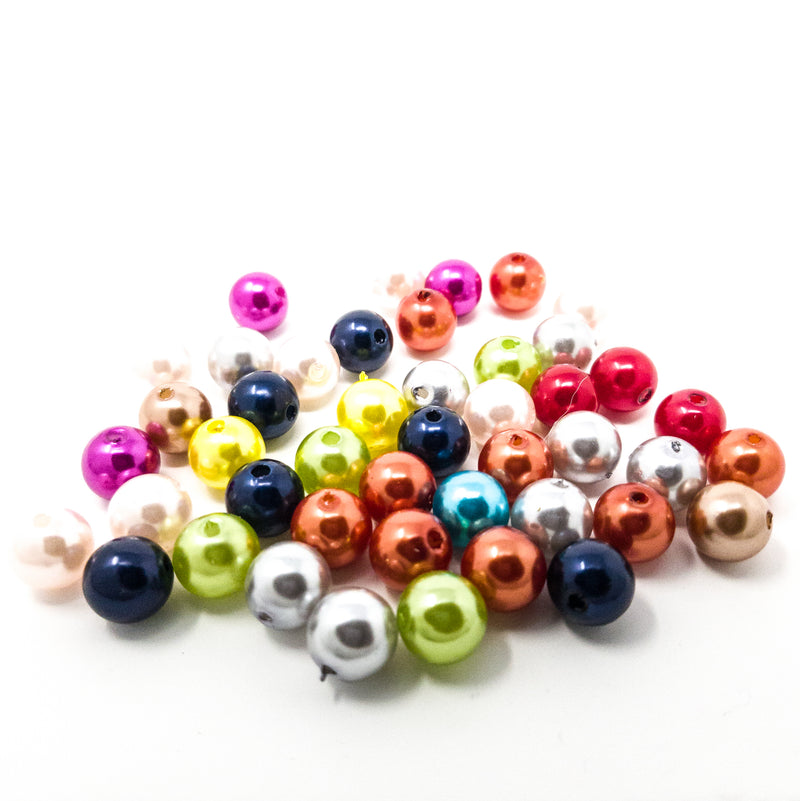 50 10mm Metallic Pearl Finish Acrylic Beads In Assorted Colours