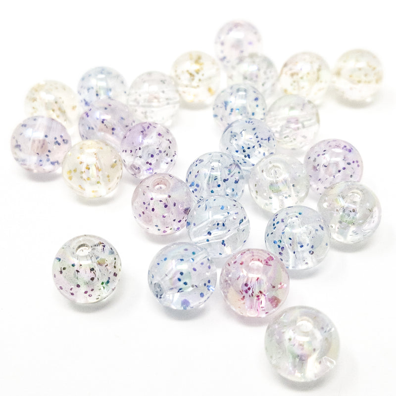 50 Acrylic 10mm Beads With Glitter And AB Finish. 2mm Hole.