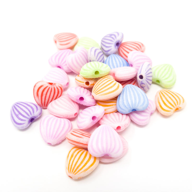 50 x Pastel Candy Colour Heart Shaped Acrylic Beads. 11x10x5mm.