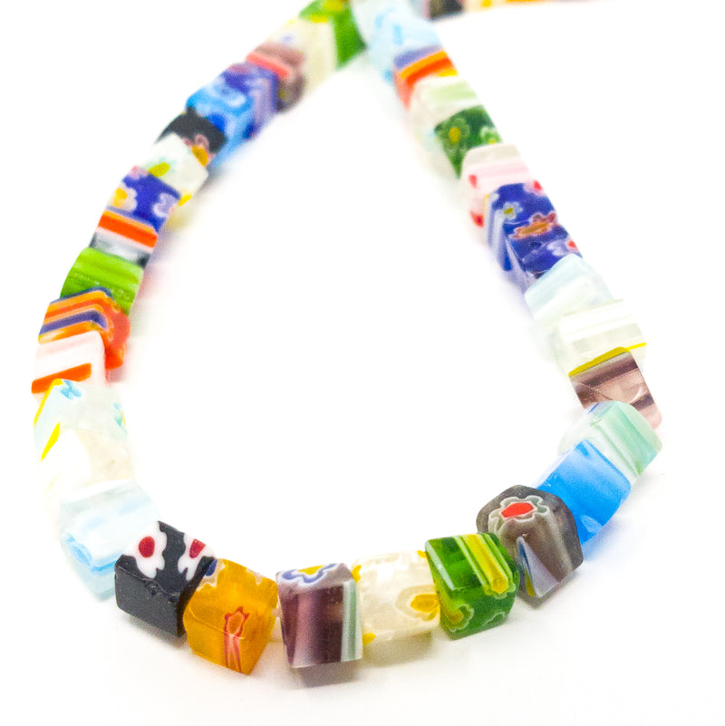 6mm Murano Style Millefiori Handmade Cube Beads. 0.5mm Hole. Approx 65 Beads.