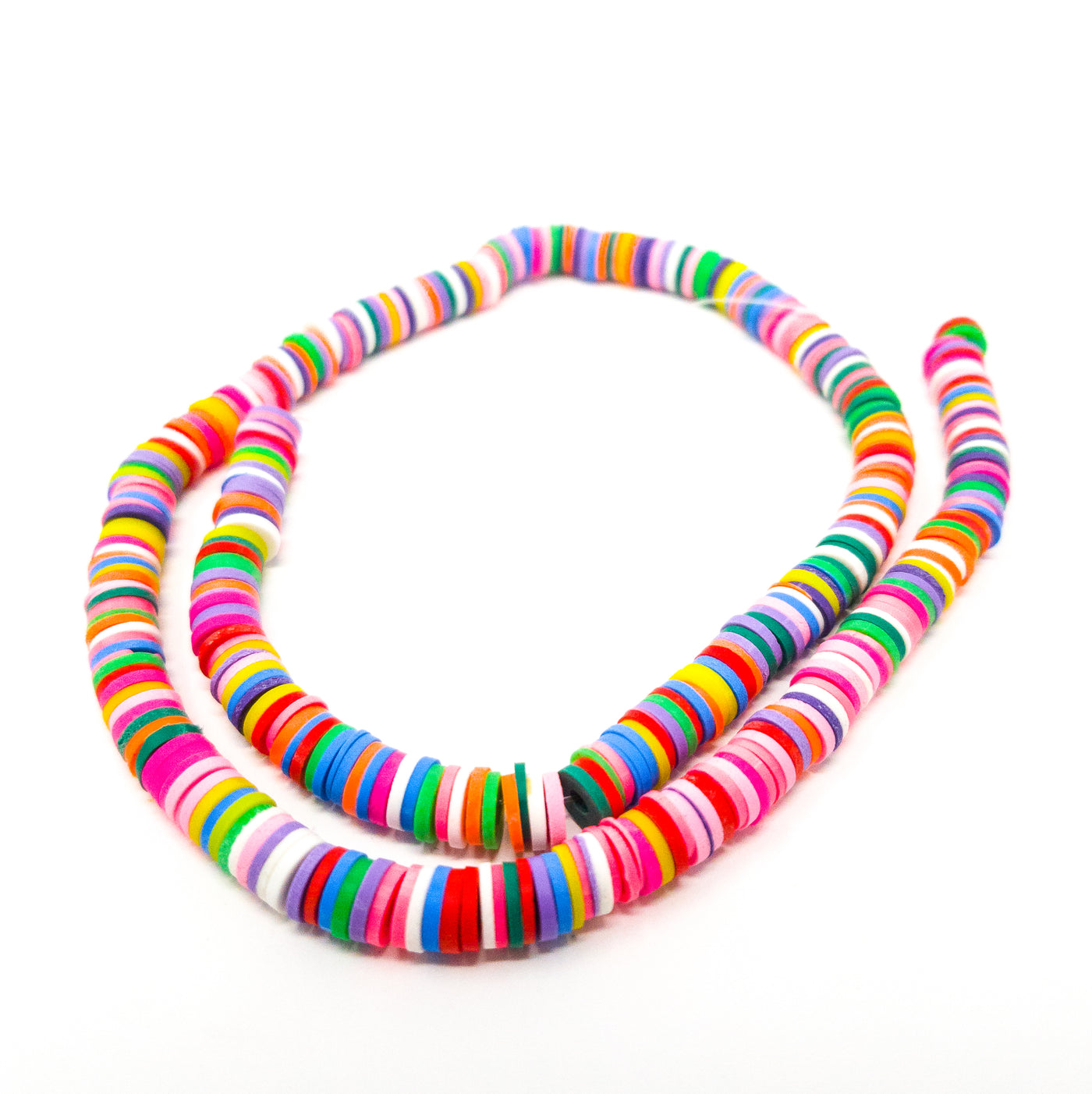 350 approx Bright Coloured 6 mm Clay Bead Spacers Average 1 mm Thick 2 mm Hole