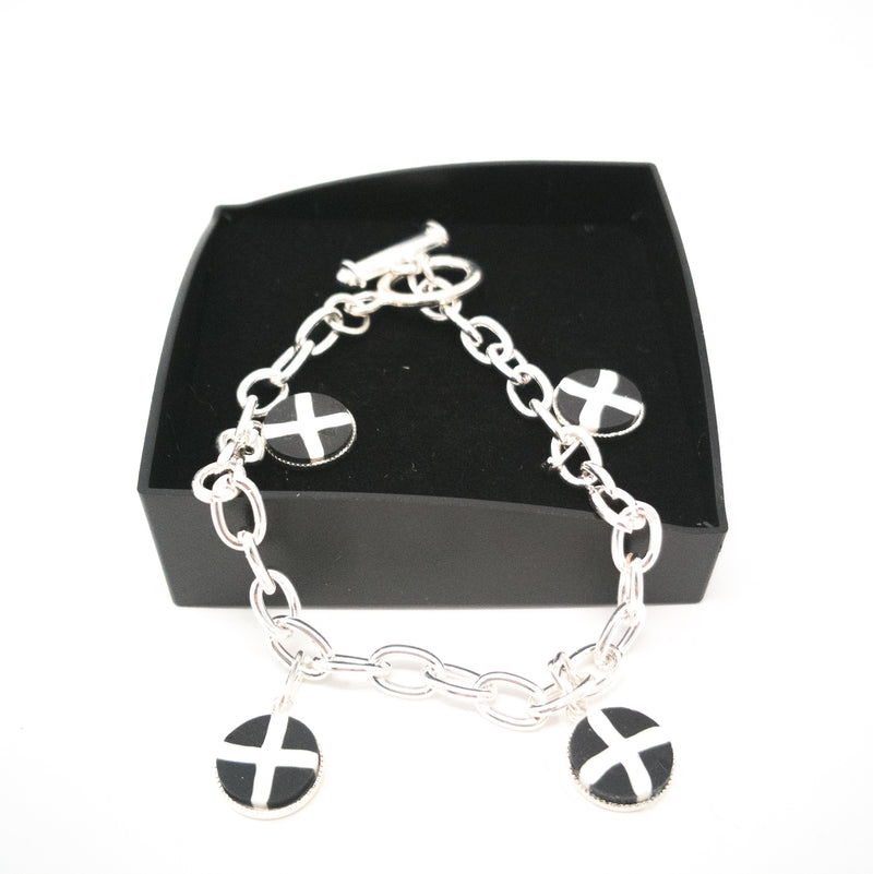 St Pirans Cornish Flag 4 Charm Silver Plated Charm Bracelet In Gift Box.