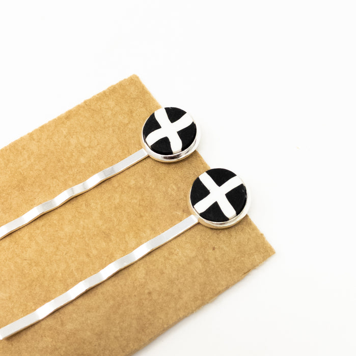 St Pirans Cornish Flag Hand Made Hairslides x 2.