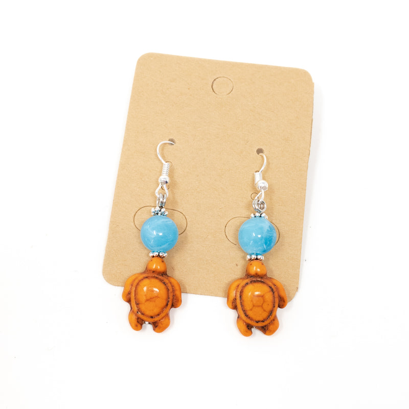 Turtle Handmade Drop Earrings. Wide Choice Of Colours With Silver Plated Hooks.