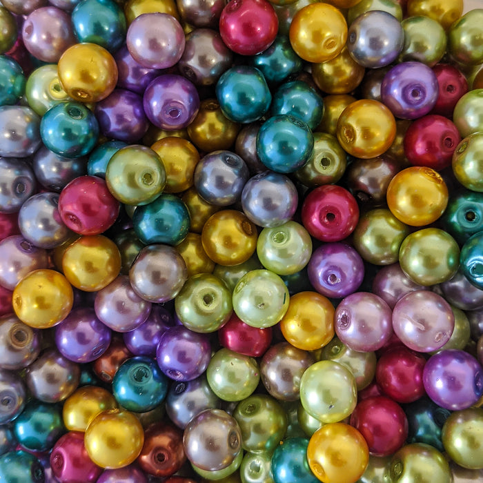 Metallic Foiled Glass Pearl Beads-Pack Of 100 6mm, 8mm, 60 x 10mm Or 200 x 4mm.