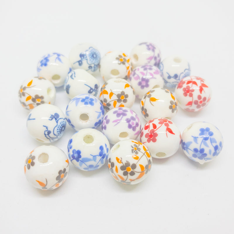 Porcelain Beads With Oriental Design. Packs Of 20 12mm Beads In Assorted Colours