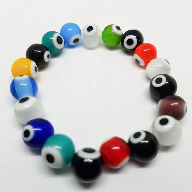 Handmade Evil Eye 10mm Glass Lampwork Bead Stretch Bracelet. 19cm.