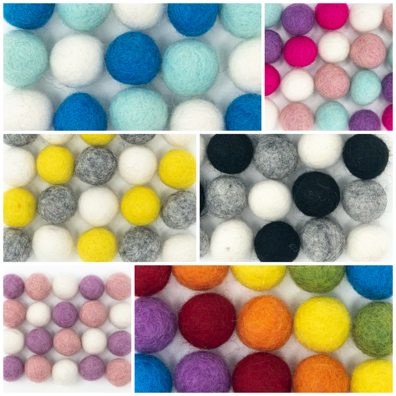 Assortments of 20 Bright Nepalese 100% Wool Felt Balls.  1cm or 2cm