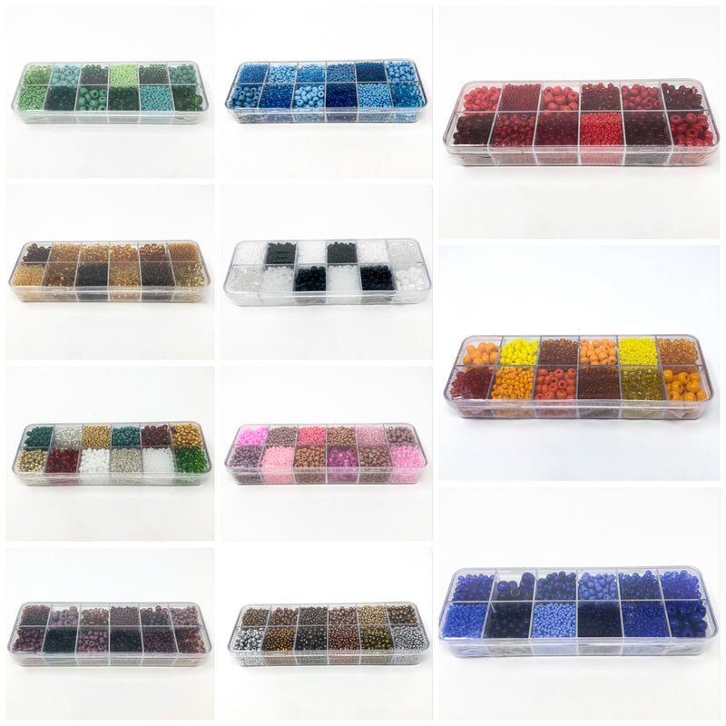 Preciosa Various Size Czech Sead Bead Selection Box-12 Designs. 12 x 18g Per Box