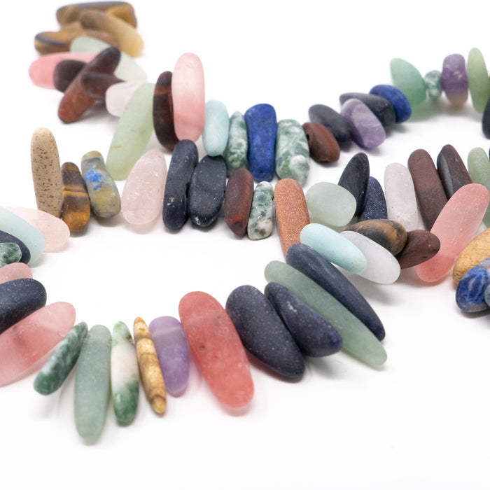Frosted Semi Precious Gemstone Chip Beads. Approx 15mm Long. Strand Of About 80