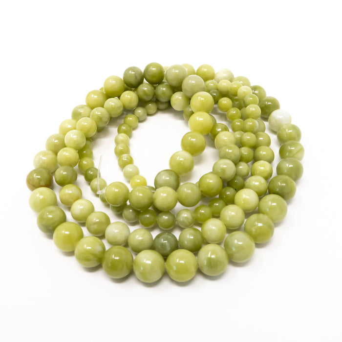 Green Peridot Round Beads. Semi-Precious Gemstones. 6mm, 8mm or 10mm.