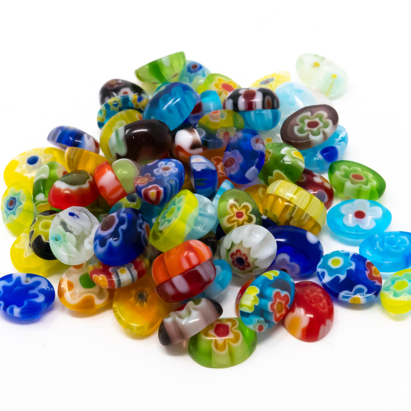 Tiny Oval Assorted Millefiori Cabochon Beads. 30g-Approx 150. 6-10x5-7mm