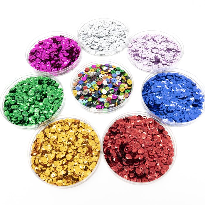 6mm Bright Cupped Sequins. 50g/Approx 4300. Choice Of Colours.
