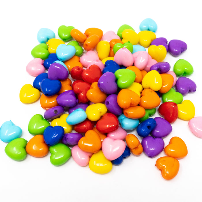 Mixed Bright Acrylic Heart Shaped Beads. Pack Of 100. 10x11x6mm. 2mm Hole.