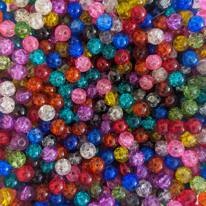 Round Crackle Glass Beads.  Multi Coloured. 4mm,6mm, 8mm, 20mm. 1mm Hole.