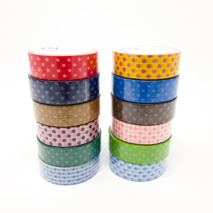 Pack Of Six Polka Dot Paper Washi Tapes. Each 10m Long, 15mm Wide. Colour Choice