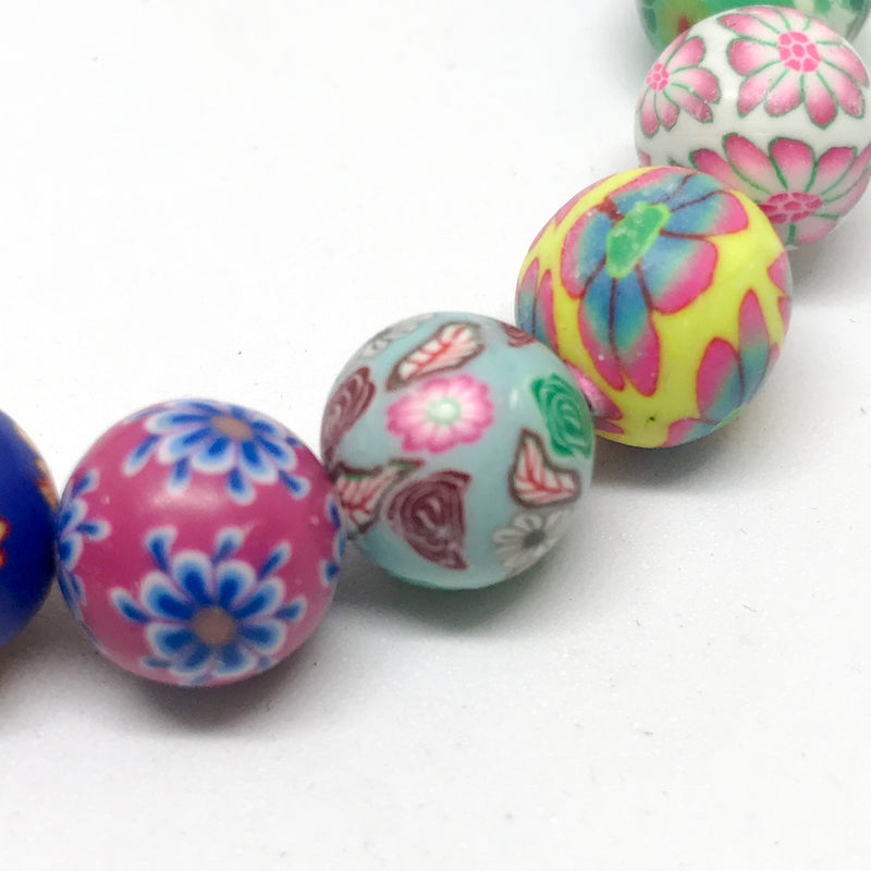 Handmade Bright Fimo Floral Stretch Bracelet-10mm Beads, 18cm Length