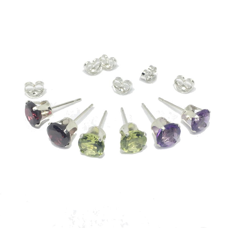 6mm Precious Stone Stud Solid 925 Silver Earrings. Amethyst, Garnet Or Peridot.