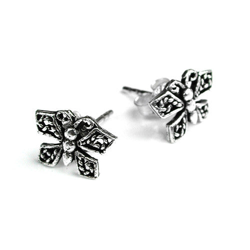 Solid 925 Silver Vintage Effect Butterfly Studs - bigigloo.co.uk