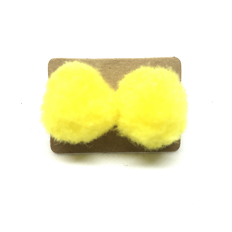 Bright 2cm Pom Pom Stud Earrings.  Boxed.