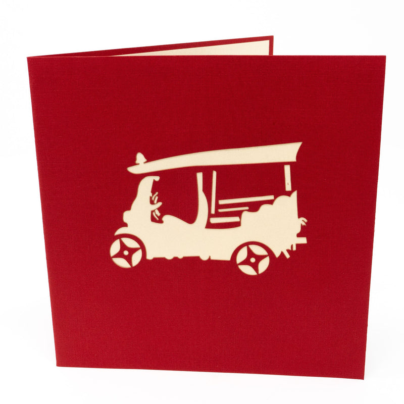 Handmade Pop Up Greetings Card-Thailand Tuk Tuk. 15 x 15cm.
