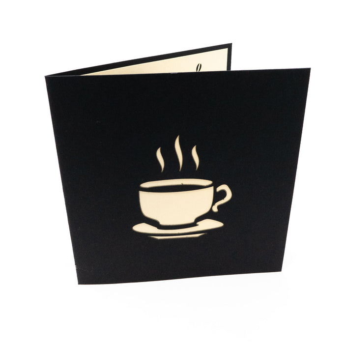 Handmade Pop Up Greetings Card-Coffee Cup.  12 x 12cm