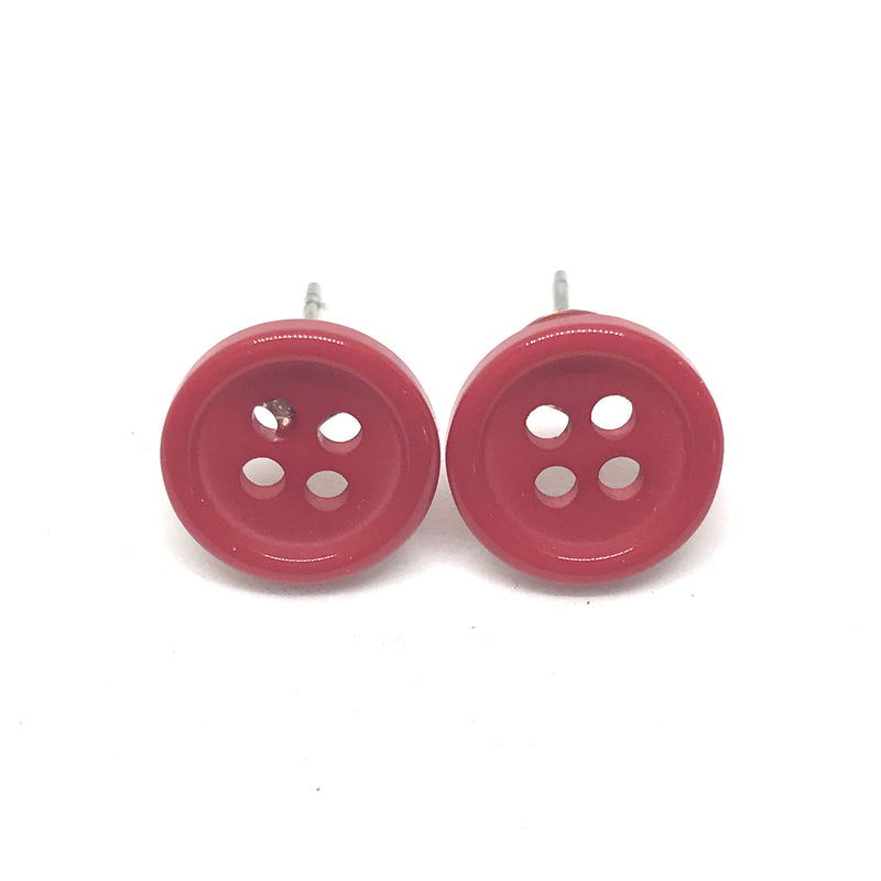 Cute Bright Button Stud Earrings In Black, Red, Pink, Blue Or Purple
