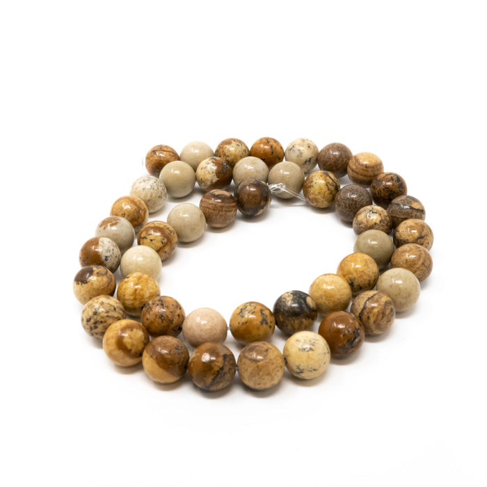 "Picture Jasper Gemstone Round Beads. 15""/42cm Strand. 4,6,8,10 mm Sizes. 1mm Hole"