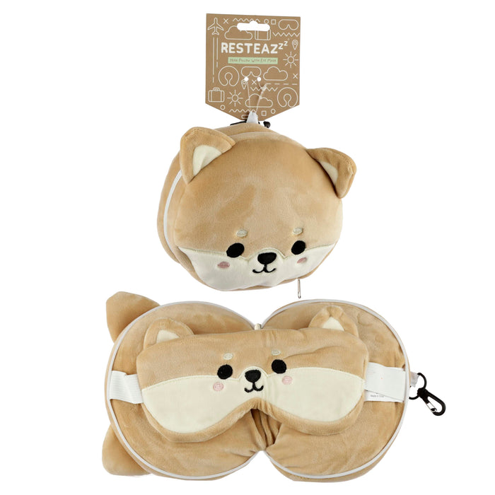 Relaxeazzz Plush Cutiemals Dog Round Travel Pillow & Eye Mask