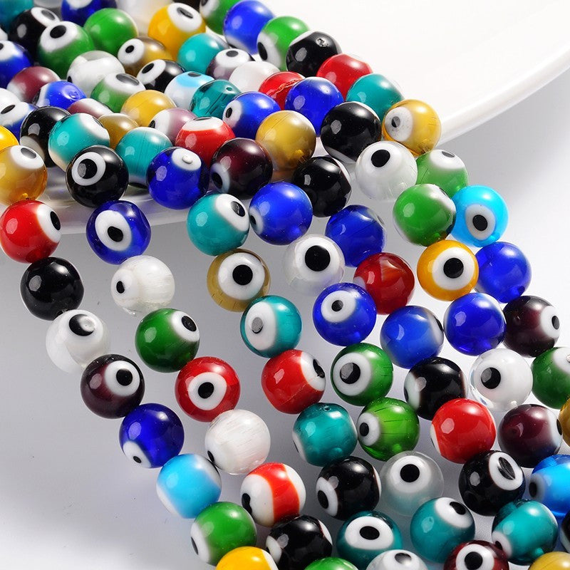 Evil Eye Lampwork Glass Beads. Complete Strand. 6mm, 8mm or 10mm