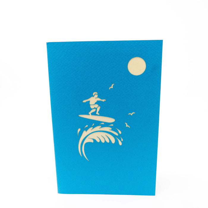 Handmade Pop Up Greetings Card-Surfer Boy. 10 x 15cm.