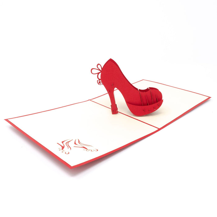 Handmade Pop Up Greetings Card-High Heel Shoe. 10 x 15cm.