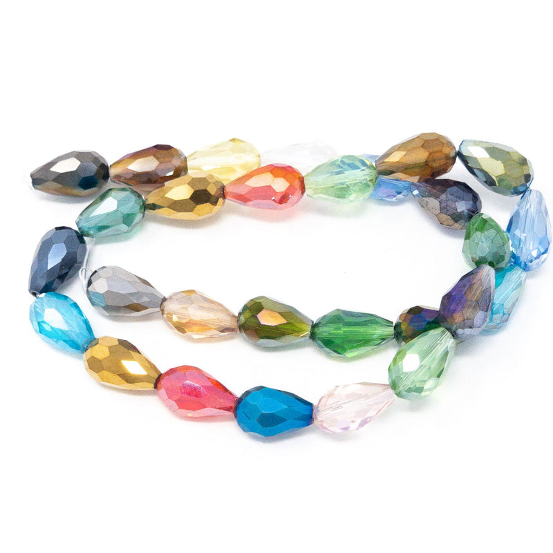Faceted Drop Shape Lustered Glass Beads. 15mm. Strand Of 28