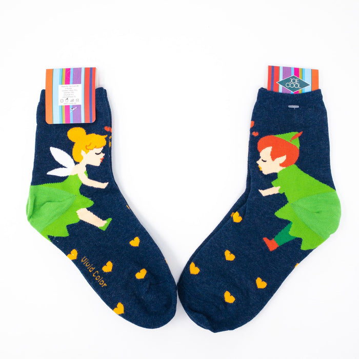 Fairytale Socks UK Size 4-7.5-Euro 35-38-US 6-9.5. Peter Pan, Snow White & Creatures.