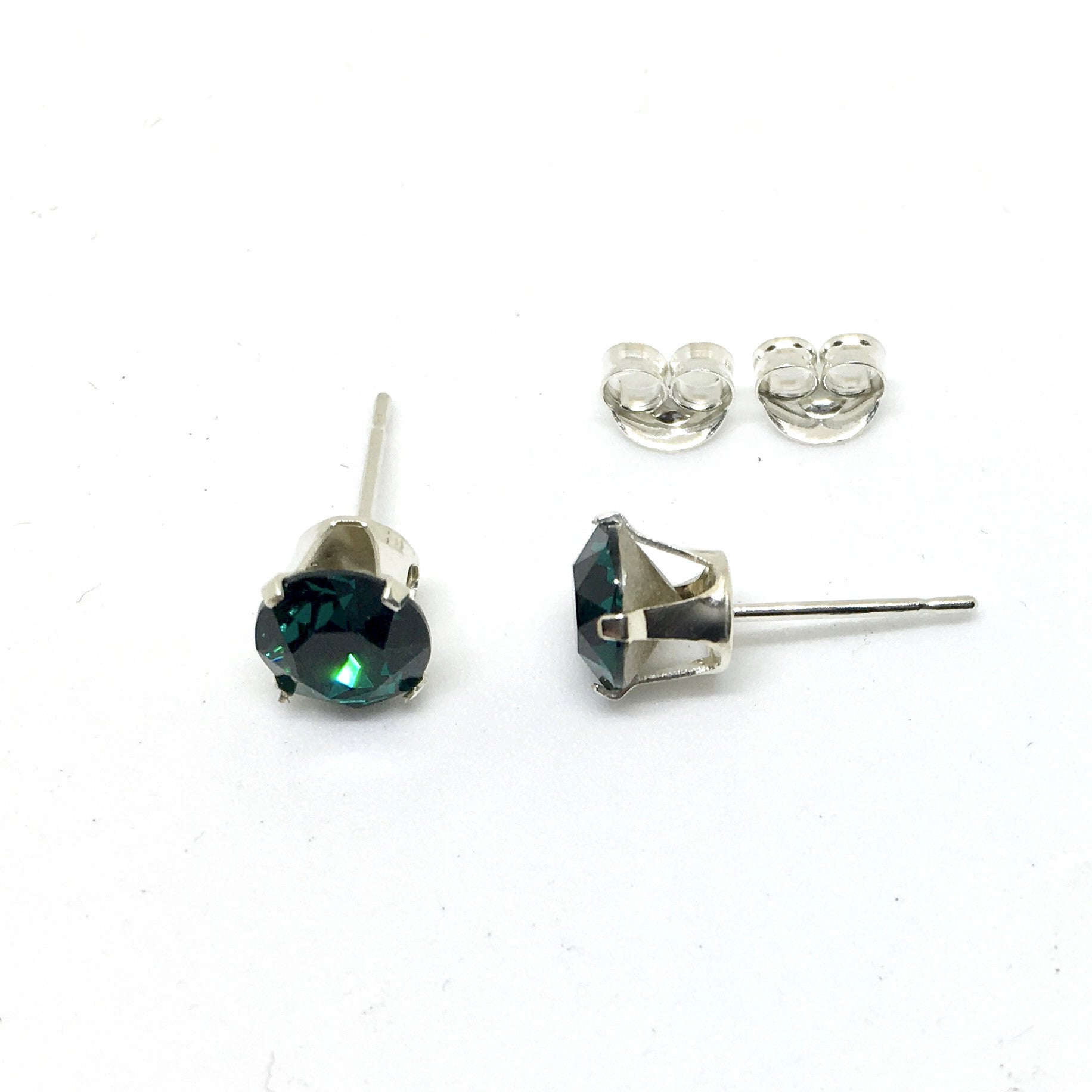 Genuine 6mm Solid 925 Sterling Silver Swarovski Crystal Birthstone Stud  Earrings
