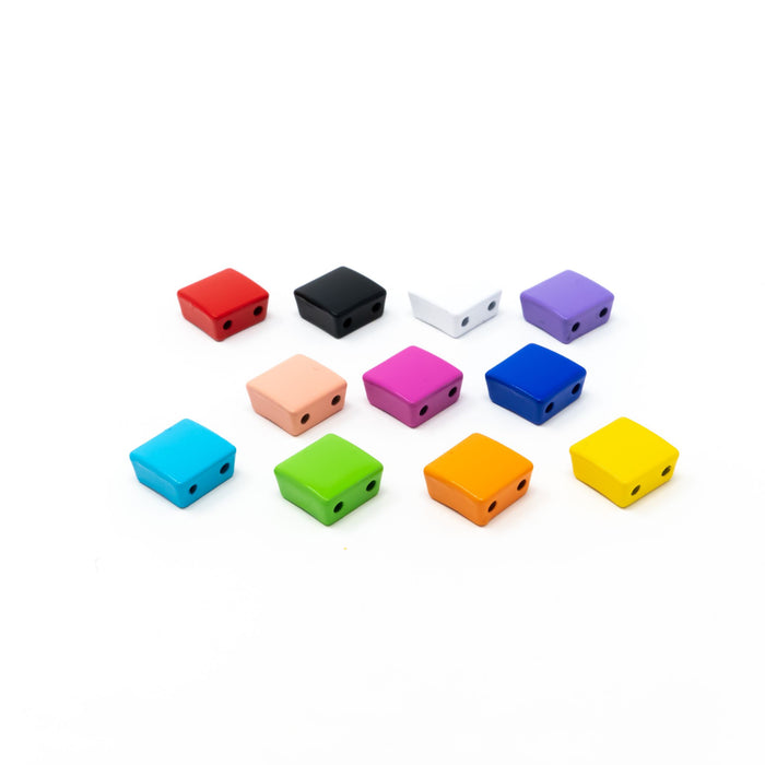 5 x Bright Enamel Metal Tile Beads In Various Colours. Square Design 1cm x 1cm