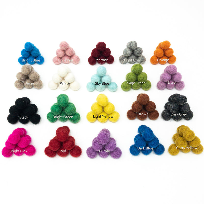 20 x Handmade Nepalese 100% Wool Felt Balls. 1cm Diameter. Choice Of Colours
