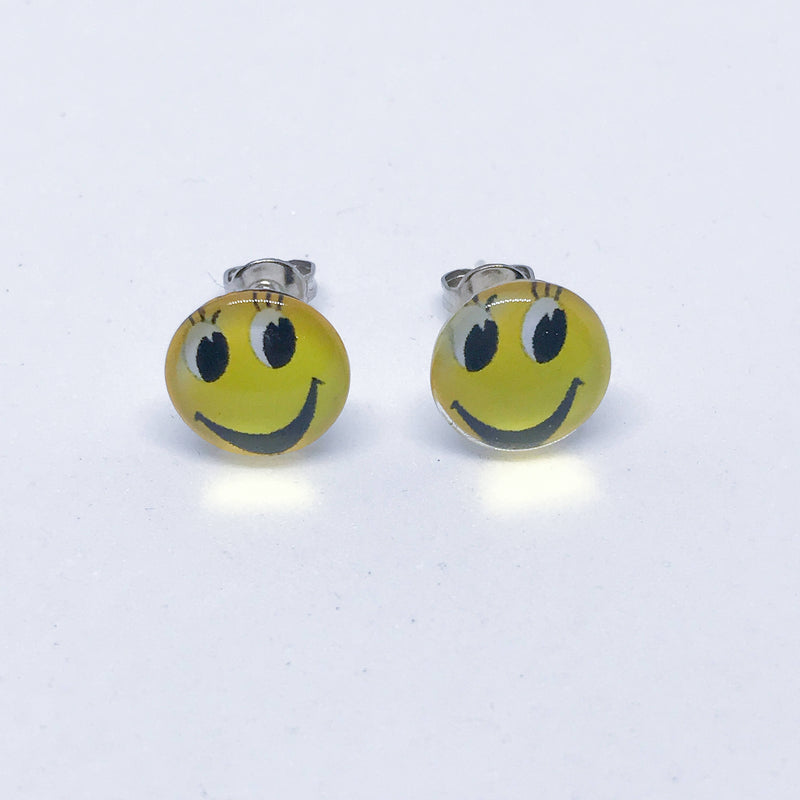 Pair Of Emoji Emoticon 10mm Stud Earrings. Stainless Steel & Glass. Gift Box.