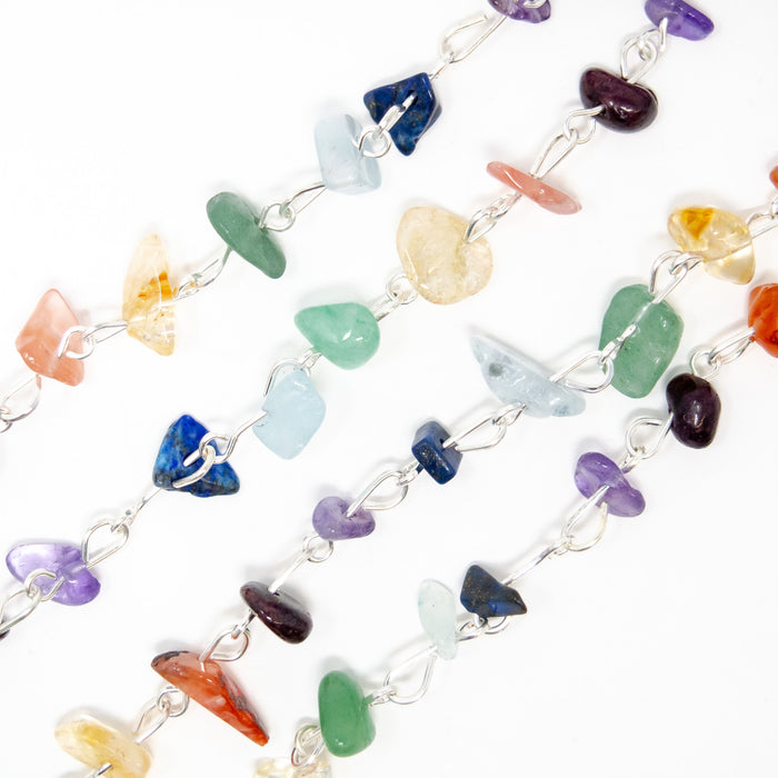 1 Metre Premade Chakra Gemstone Chain For Making Bracelets Or Necklaces