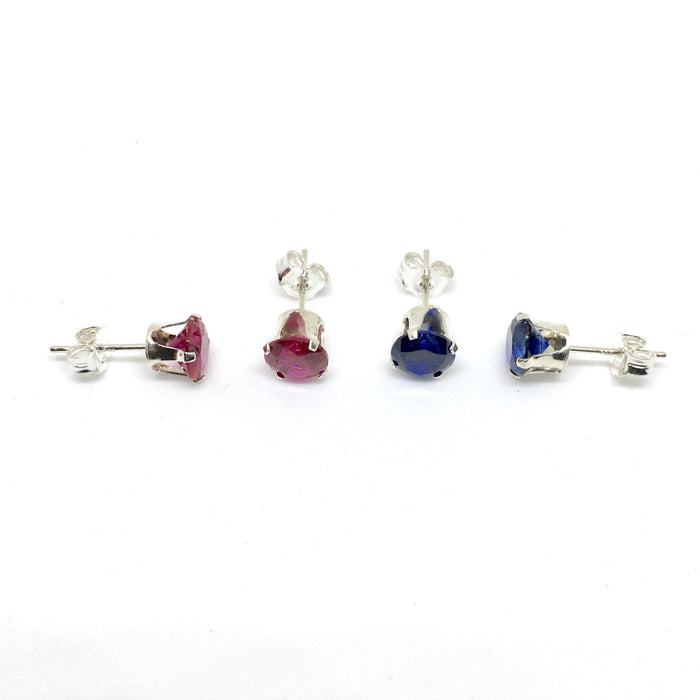 Genuine Created 6mm Ruby Or Sapphire Stud Earrings. 925 Silver Or Gold Filled