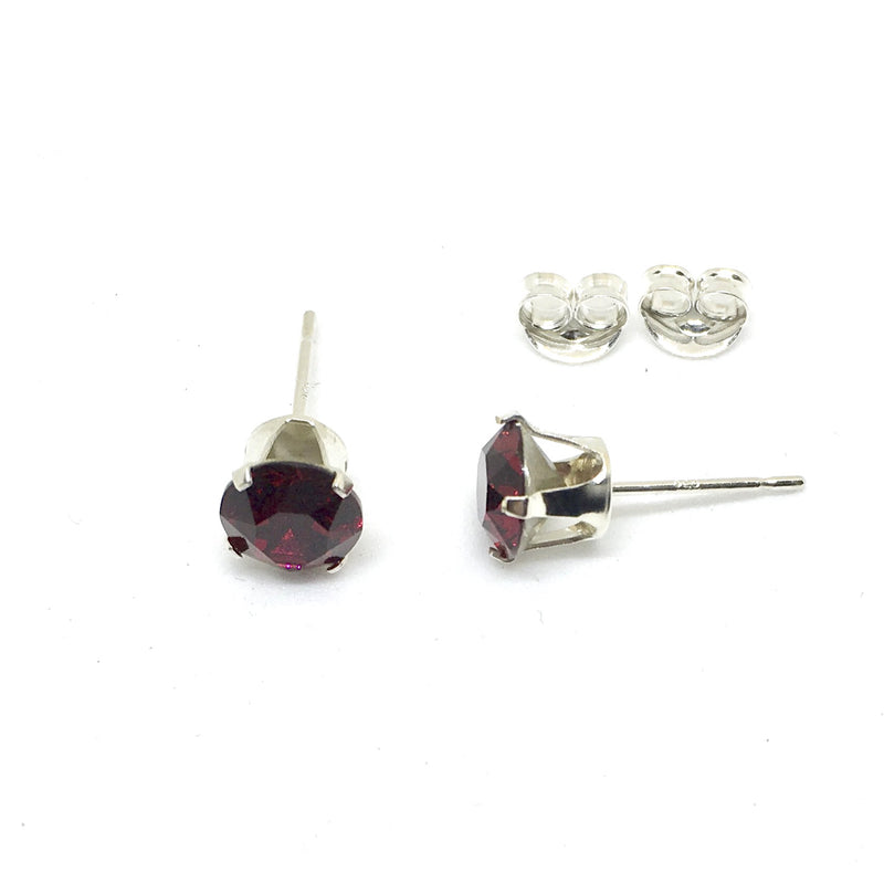 6mm 4 Claw 925 Sterling Silver Stud Earrings. Genuine Swarovski Xirius Crystals