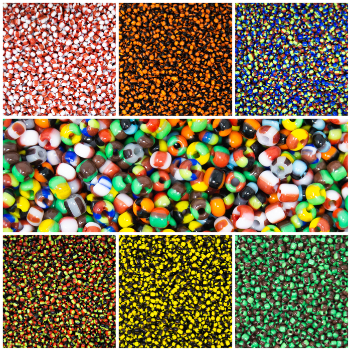 Striped Opaque Seed Beads.  3mm-8/0.  50g Pack (Approx 1500)