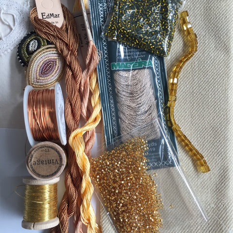 Textile art pack 2 - gold and bronze