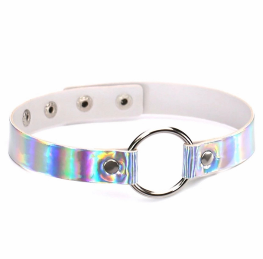 Holographic Silver O-Ring Choker