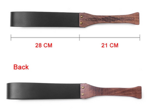 Wooden Handle Paddle with Faux Leather Strap