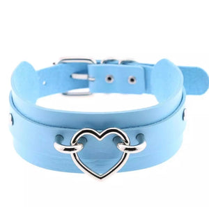 Double Layer Choker/Collar with Silver Heart
