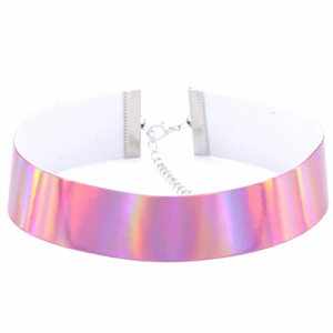 "Holographic 1"" Wide Choker/Collar"