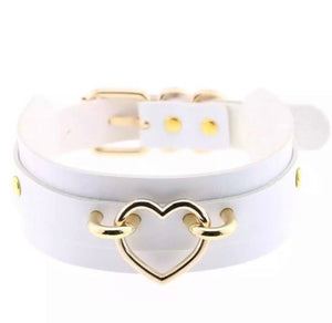 Double Layer Choker/Collar with Golden Heart