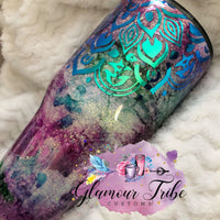 Mandala Ink Glitter Tumbler, Glitter Tumbler, Custom Tumbler, Customized Glitter Tumbler, Gift for her, Mother's Day Gift, Monogram Tumbler, Glow Tumbler